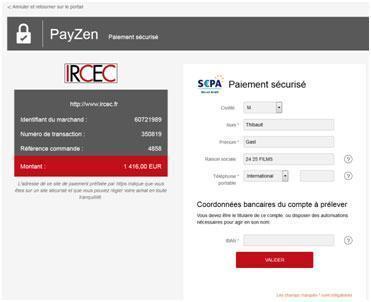 paiement sécurisé IRCEC avce Payzen